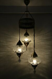 Turkish Moroccan Crackle Clear Glass Hanging Lamp Ceiling Light Chandelier