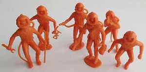 "MPC Spacemen Orange 2"" Figures Plastic Space Playset Astronaut Lot of 6 Vintage"