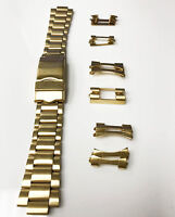 ORIGINAL STAINLESS STEEL GOLD 18-22MM DEPLOYMENT CLASP BRACELET WITH ENDPIECES