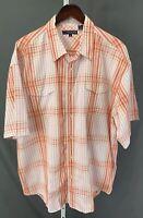 Roper Mens XXL 2XL White & Red-Orange plaid Short Sleeve Western Shirt