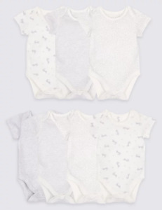 BNIP M&S 7 Pack White Grey Pure Cotton Short Sleeved Bodysuits Vests 6-9 Months