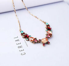 """Colorful Sparkling Pink Aqua Faceted Rhinestone Necklace Gold Chain 16"""" -19"""" NEW"""