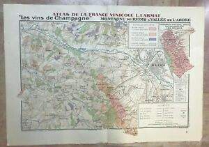 WINE MAP CHAMPAGNE (REIMS) FRANCE 1944 by LARMAT LARGE ANTIQUE MAP