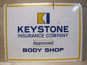 Vtg KEYSTONE Inc Co Approved Body Shop Sign auto truck repair shop advertising
