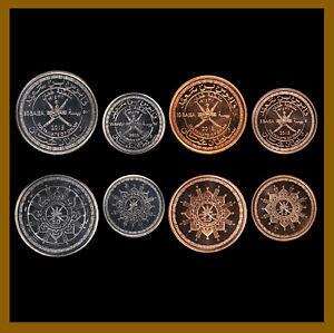 Oman 5 10 25 50 Baisa (4 Pcs Coin Set), 2015 45th Anniv. of the Sultanat Unc
