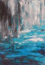 """TABLEAU ABSTRAIT Art Contemporain Peinture de H.Zen Paysage """"LA MOUSSON"""" 65x92cm"""