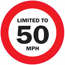 5 x LIMITED TO 50 MPH 125mm Vehicle speed restriction sticker - VAN/WAGGON/LORRY