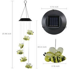 Cute Bee Led Color-Changing Power Solar Wind Chimes Yard Home Garden Decor