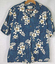 BISHOP STREET APPAREL HAWAII HAWAIIAN SHIRT L Hisbiscus & Surfboards on Blue S/S