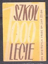 POLAND 1959 Matchbox Label - Cat.Z#136a-pp. 1000 Schools for 1000 years (Polish)