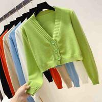 Fashion Knitted Tops Coat Cardigan Short Sweater Long Sleeve Single Knitwear UK