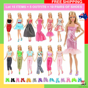 Fashion Mini Dresses Clothes Outfits Sets RANDOM Styles Barbie Doll Gift 15 pcs