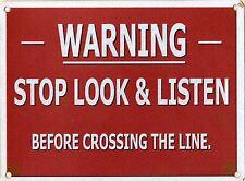 NUOVO 20x30cm STOP LOOK LISTEN Retrò Medio in Metallo ferrovia treno Muro Segno