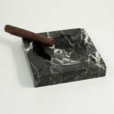 Bey-Berk C303 Square Solid Marble Four Cigar Ashtray Black