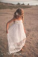 Lace Boho Flower Girl Dress, Beach Flower Girl Dress by Ellura Sage