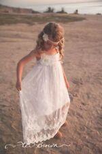 Lace Boho Flower Girl Dress, Beach Flower Girl Dress by Ellura Sage
