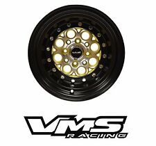 x2 VMS RACING REVOLVER 13X8 BLACK GOLD DRAG RIMS WHEELS 4X100/4X114 ET20 PAIR