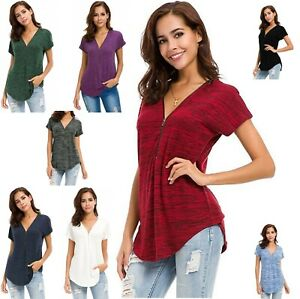 Women's T Shirt Short Sleeve Zip Up V Neck Curve Hem Tunic Tops Relaxed Fit