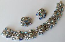 VINTAGE CROWN TRIFARI SIGNED BOREALIS RHINESTONE BRACELET & EARRINGS N1