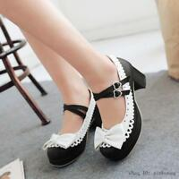 Mary Janes women pumps shoes Lolita bow ankle strap dress shoes round toe buckle