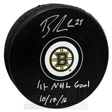 Brandon Carlo Boston Bruins Signed Autographed 1st NHL Goal Inscribed Puck