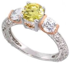Silver 1ct Ideal Cut Simulated Diamond Fancy Yellow Solitaire Engagement Ring