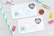 Blue Elephant Baby Shower Scratch Off Game Cards - Baby Shower Game
