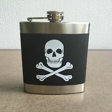 HIP FLASK 6 oz. Skull Crossbones Rubberized Stainless alcohol liquor Harley Goth
