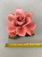 Vintage Napoleon capodimonte fine porcelain flower pink rose Made in Italy