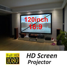 120'' 16:9 Projector Projection Portable Screen Matte White Pull Down Movie View
