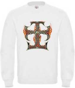 Sweatshirt in weiß mit einem Biker-,Gothic-&Tattoomotiv Modell Celtic Cross