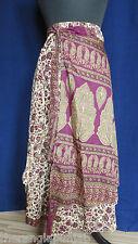 wickelröcke Falda De Seda S/M Púrpura/beige 84cm handgefertigt -india
