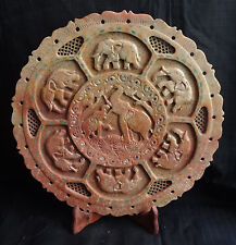 "13"" New Marble Plate Elephant Design Hand Carved Handmade Kitchen Decor Gifts"