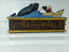 Free Shipping Vintage Cast Iron Jonah and The Whale Mechanical Bank