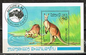 Laos Fauna Red Kangaroo and Map Souvenir Sheet 1984 MNH