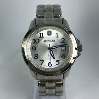 Wenger Mens 7823X White Dial Silver Tone Stainless Steel Band Swiss Made watch