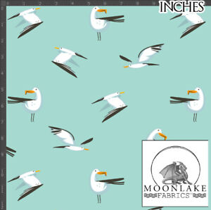 Seagull on Mint 100% Quality Cotton Poplin Fabric * Exclusive *