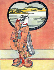 A Symphony in Reds Japanese Repro Woodblock Print by Suzuki Harunobu