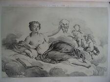 Charles Josuah CHAPLIN (1825-1891) LITHO ORIGINALE ALLÉGORIE COMÉDIE FEMME 1860