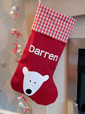 Personalised Luxury Polar Bear Christmas Stocking - Red - Lined - Handmade in UK