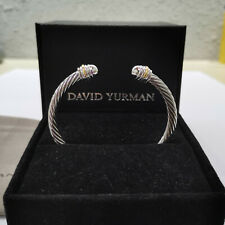 new David Yurman Silver 5mm Cable Cuff Classic Bracelet With 18K (750) gold