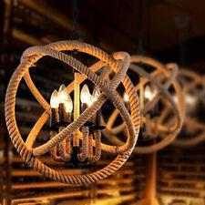Farmhouse Rustic Rope Orb Chandelier Industrial Pendant Lamp Lighting Fixture