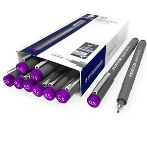 Staedtler 308 Pigment Doublure Ligne Fine –0.5mm– Paquet De 10 – Violet