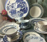 Vintage Mismatched Blue White Transferware Dish Set 4- place settings 22 pc  #5