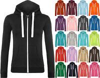 New Womens Hooded Zip Long Sleeve Pocket Stretch Plain Ladies Hoodie Top 8 - 14