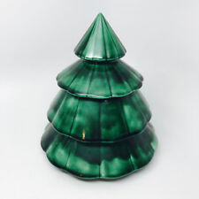 "Ceramic Vintage 8"" Christmas Tree Cookie Jar Byron Molds 1975 Green Painted VTG"