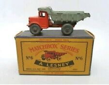 Matchbox Lesney No.6a Quarry Truck orange body grey tipper metal wheels MW