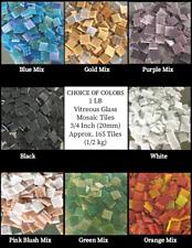 """1 Lb Glass Tiles for Crafts, 3/4"""", 165 Tiles, Choose Color, Vitreous Mosaic Tile"""