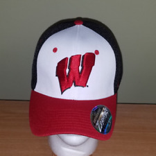 sports shoes 81b6f 93b01 New ListingWisconsin Badgers NCAA Black White and Red Fitted Zephyr M L NEW  Hat