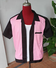 Men's Rockabilly Vintage 50's Style Retro Bowling Shirt Black, Pink front Large